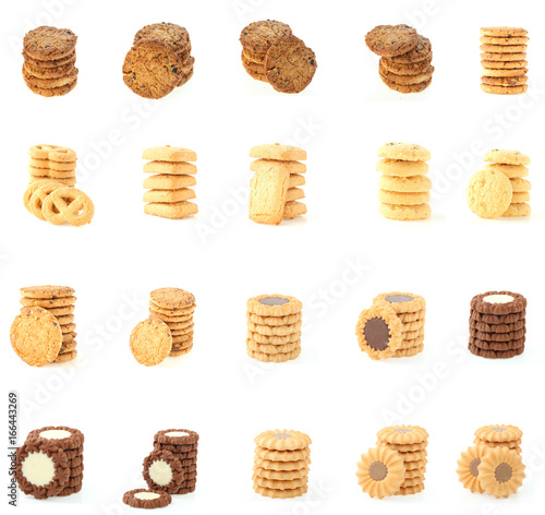 Foto  collection cookies set on white background