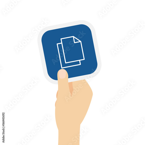 Fotografie, Obraz  Hand hält Bierdeckel mit Datei Kopie Symbol