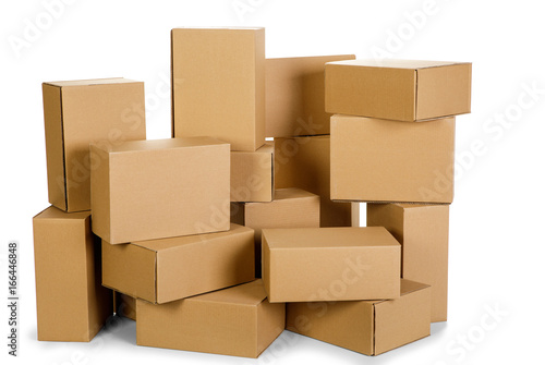 Photo piles of cardboard boxes on a white background