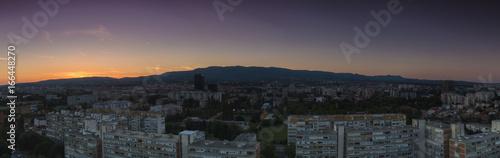 Poster Athens Zagreb skyline at sunrise