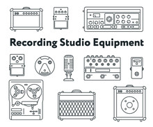 Equipment For Sound Recording Studio. Minimal Flat Line Outline Stroke Icon Set. Pedal, Amplifier, Guitar Effects Processor, Mixer, Vintage Tape Recorder, Microphone, Speaker, Synthesizer.