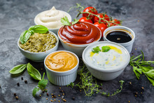 Selection Of Different Sauces ...