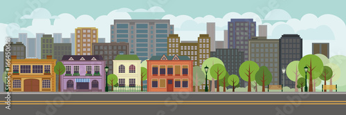 Flat Design cityscape with park panoramic banner illustration