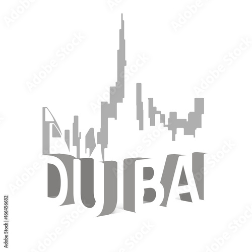 Photo  Dubai skyline illustration