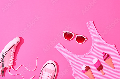 Summer Hipster Girl Accessories Set. Fashion Design. Hot Summer Sunny Vibes. Trendy Sneakers, fashion Sunglasses, Top and Ice Cream. Creative Bright Sweet Style. Vanilla Pink Pastel Color.Minimal, Art
