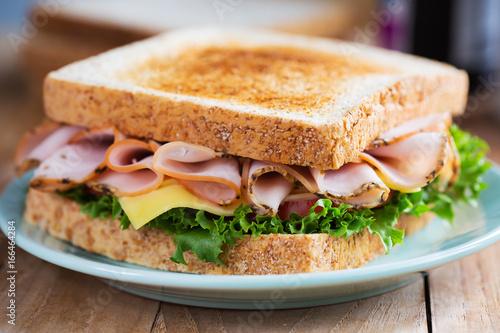 Staande foto Snack pepper ham sandwich in plate