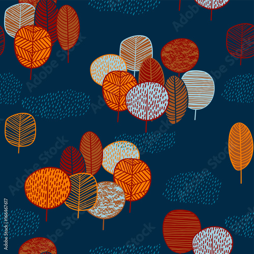 Abstract autumn seamless pattern with trees.