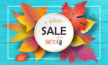 Autumn Sale Banner. Autumn Orange And Yellow, Red Fall Leaves Frame On Blue Wood, Turquoise Wooden Board Background, Top View Vector, Advertising Wallpaper, Gift Card Design.
