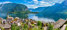 Hallstatt Old Town Panoramic View Austria On Lake Hallstattersee