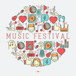 Music festival concept in circle with thin line icons DJ in headphones, vinyl player, disco ball, microphone, tickets. Vector illustration for banner, web page, flyer.