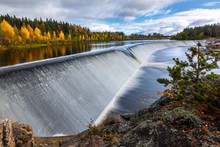 Autumn Landscape With River Dam And Forest, Finland, Lapland, Kemijoki