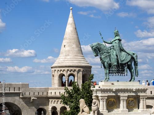 Fotografie, Obraz  King Stephan's Monument in front of Fisherman's Bastion, Budapest, Hungary
