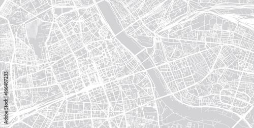 Fotomural  Urban city map of Warsaw, Poland