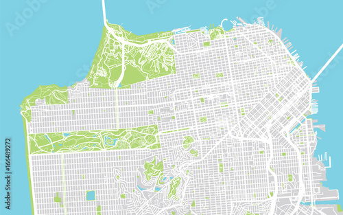 Cuadros en Lienzo Urban city map of San Francisco, California