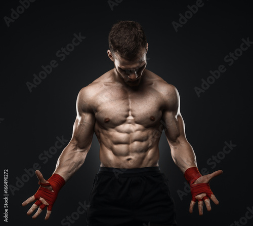 MMA Fighter Preparing Bandages For Training. Tableau sur Toile