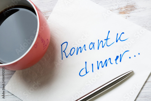Photo  Romantic message written on napkin