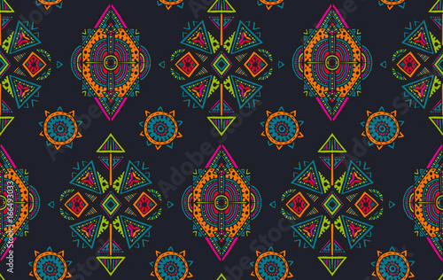 Leinwand Poster Vector hand drawn seamless pattern with tribal abstract elements