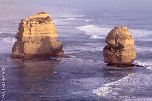 Loch Ard Gorge is one of the most popular tourist attractions in Victoria Australia, The sunset over the fog and the Twelve Apostles, called the Great Ocean Road Canvas Print