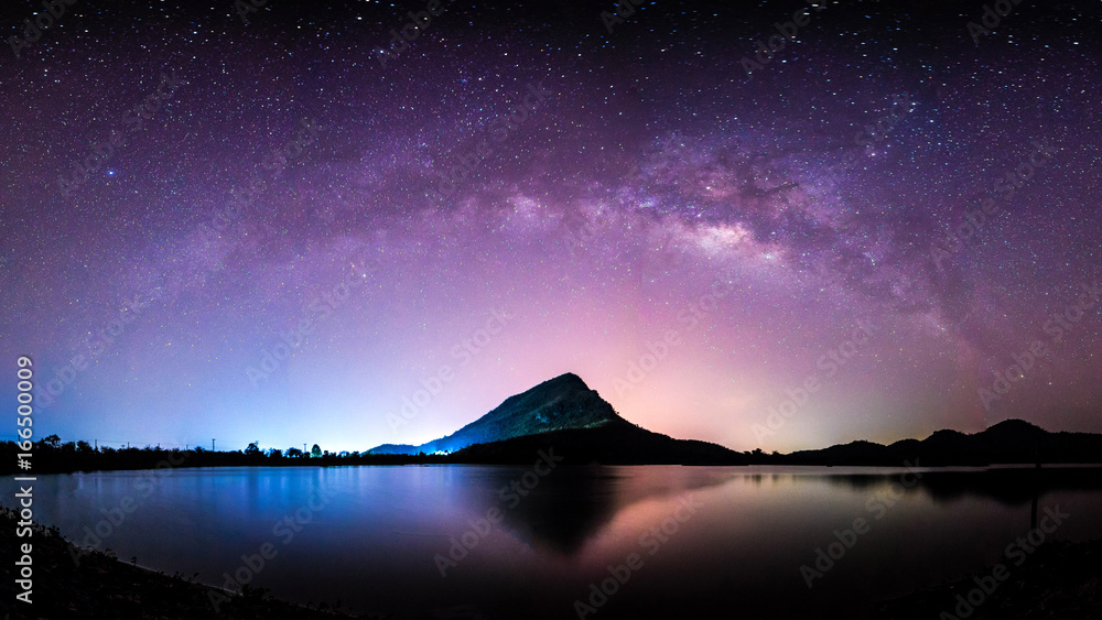 Fototapety, obrazy: night landscape mountain and milkyway  galaxy background , thailand , long exposure ,low light