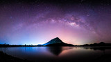 Fototapeta Kosmos - night landscape mountain and milkyway  galaxy background , thailand , long exposure ,low light