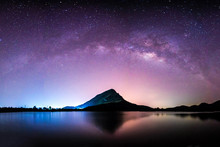Night Landscape Mountain And Milkyway  Galaxy Background , Thailand , Long Exposure ,low Light