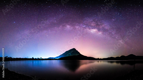 In de dag Heelal night landscape mountain and milkyway galaxy background , thailand , long exposure ,low light