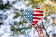 Heart Shaped USA Flag With Ribbons