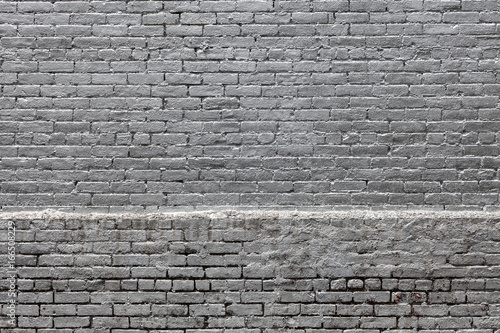 Silver Painted Brick Wall - 166508229