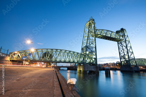 Foto op Canvas Rotterdam De Hef Railroad Bridge across Harbour, Rotterdam, South Holland, Netherlands