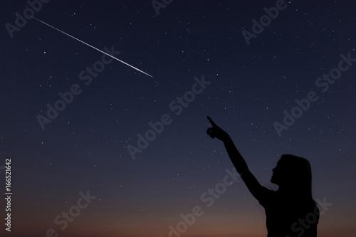 Cuadros en Lienzo Kid makes a wish by seeing a shooting star.