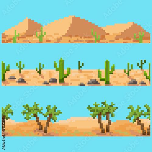 Set of pixel seamless landscape elements Wallpaper Mural