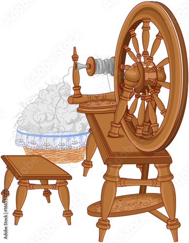Printed kitchen splashbacks Fairytale World Shepherd Spinning Wheel and Chair