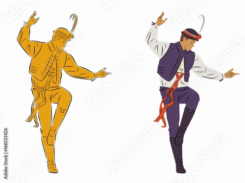Fotografia  illustration of folklore dancer, vector draw