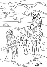 Coloring Pages. Mother Zebra W...