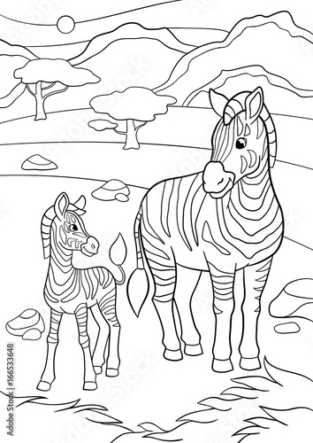 Coloring Pages Mother Zebra With Her Little Cute Baby Buy This Stock Vector And Explore Similar Vectors At Adobe Stock Adobe Stock