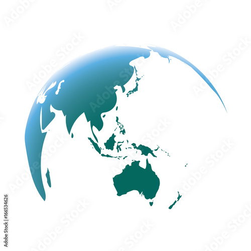 Blue World Map Globe Isolated On White Background Focus Asia And
