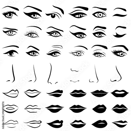 Canvas Print Set of human eyes, noses and lips