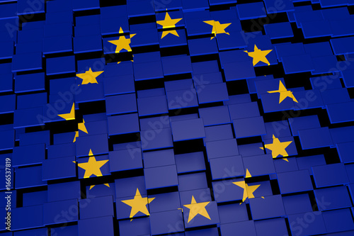 Fotografie, Obraz  European Union flag background formed from digital mosaic tiles, 3D rendering