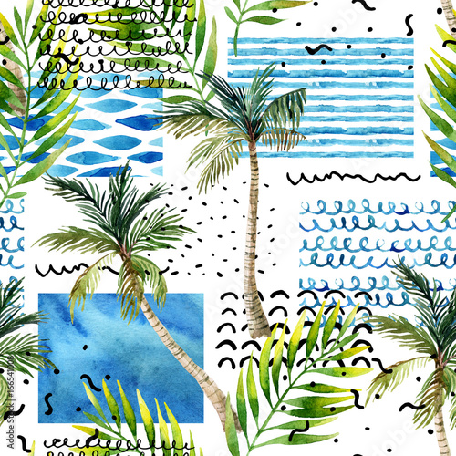 Recess Fitting Graphic Prints Abstract summer tropical palm tree background.