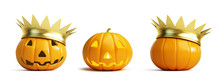 Halloween Pumpkin Crown On A White Background 3D Illustration, 3D Rendering