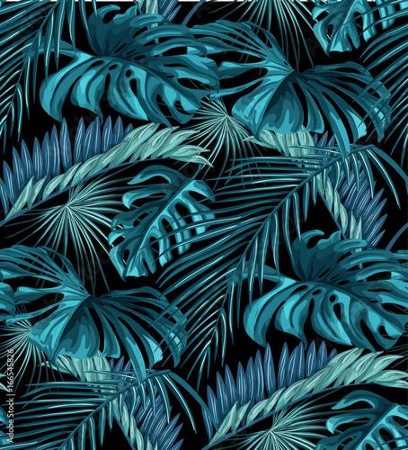 Vector tropical leaves seamless pattern © belokrylowa