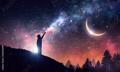 Valokuva Stary clear night sky. Mixed media