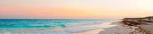 Panorama Of Amazing Beautiful Sunset On White Sandy Beach
