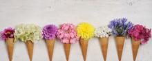 Ice Cream Cones With Beautiful Flowers