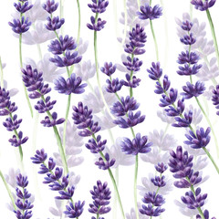 Panel SzklanyWatercolor hand drawn lavender seamless pattern background