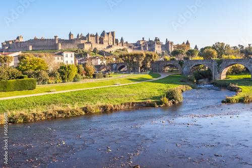 la Cité de Carcassonne vue du vieux pont sur l'Aude Canvas Print