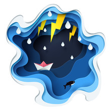 Abstract Of Little Paper Boat Against Crazy Sea And Thunderbolt In Storm, Paper Art Storm Concept