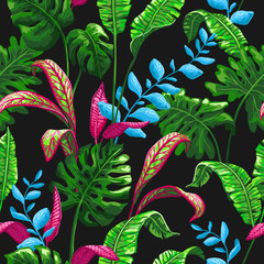 FototapetaTropical seamless pattern with palm leaves.