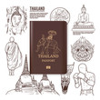 Thailand travel, Thailand passport, Hand drawn Thailand vector illustration.