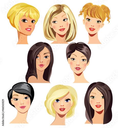 In de dag Kinderkamer beauty face of girl blonde and brunette hair